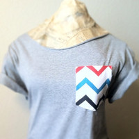 FREE SHIPPING, Hipster Style, Off shoulder Top, Chevron Pocket, Off shoulder Tshirt (women, teen girl)