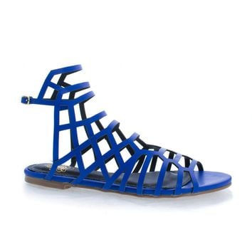 CiciML Blue Pu By Liliana, Open Toe Honeycomb Caged Ankle Flat Sandals