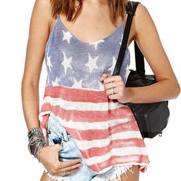 Multicolor Striped American Flag Print Backless Deep V-neck Casual Vest