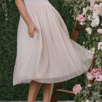 Margot Taupe Polka Dot Tulle Midi Skirt