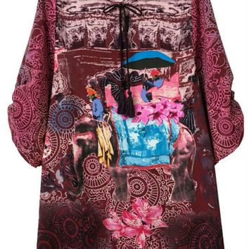 Burgundy V-Neck Tribe Print Dress