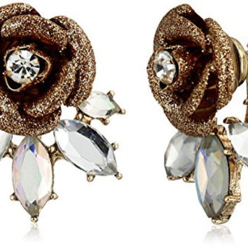 "Betsey Johnson ""Luminous Betsey"" Glitter Rose and Faceted Stone Earrings Jackets"