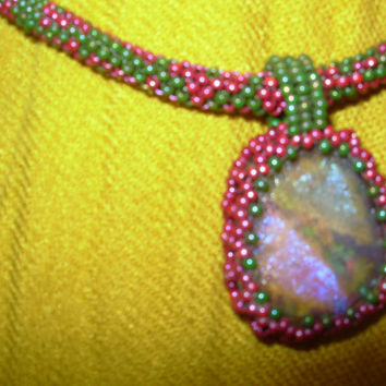 Hand Beaded Jewelry Signs of Spring Glass Cab and Circular  Peyote TOHO Bead Necklace