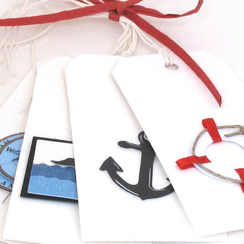 Nautical Gift Tags, Cruise Ship Tags, Anchor, Life Preserver, Ship, Ocean, Compass, Travel Tags, Red White and Blue