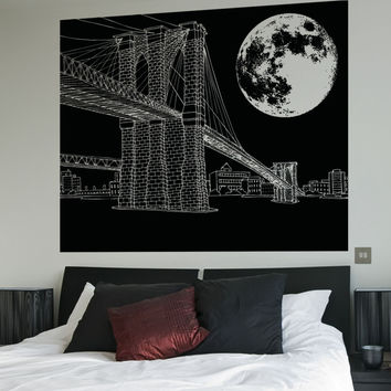 Vinyl Wall Decal Sticker Brooklyn Bridge Night #5214