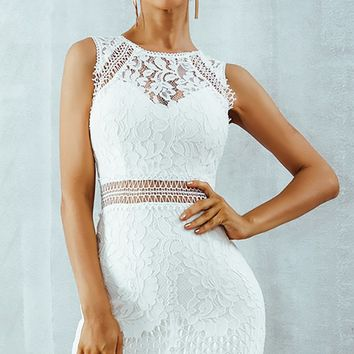 Treat Me Proper White Sheer Lace Sleeveless Round Neck Bodycon Mini Dress