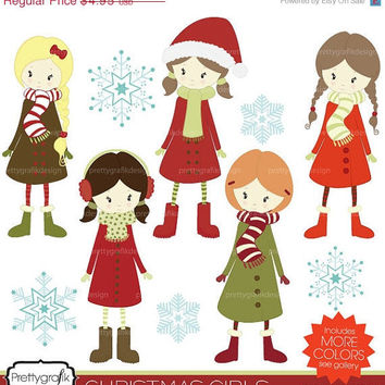 40% OFF winter christmas girls clipart, commercial use, vector graphics, digital clip art, digital images -  PGCLPK443