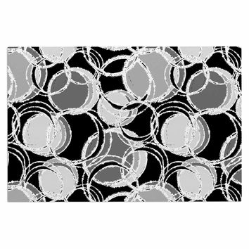 "Julia Grifol ""Simple Grey Circles"" Black Gray Decorative Door Mat"