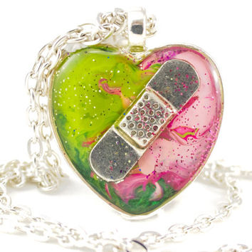 CHD Necklace, Congenital Heart Defect Jewelry, Broken Heart, Pink and Lime Heart Jewelry, Teenage Gift, Sympathy Gift