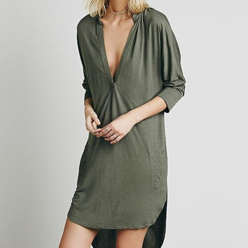 Plain V-Neck Sleeve Asymmetrical Dress Shirt