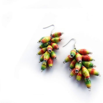 Earrings - Yellow red green made with handmade multicolored recycled paper beads