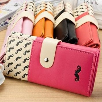 DCCK0OQ New women wallet High quality smooth PU leather mustache woman purse clutch wallets lady coin purse cards holder SV003811 Bag