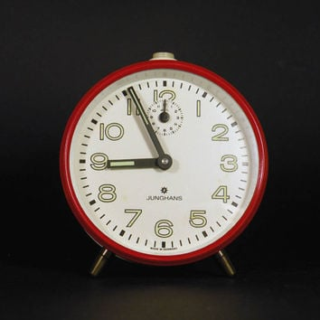Vintage German red alarm clock, red alarm clock, German alarm clock, night stand clock, retro alarm clock, junghans clock, mechanical clock