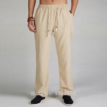 High-quality Chinese Men's Kung Fu Pants Linen Cotton Trousers Martial Arts Trousers Sport Pants free shipping