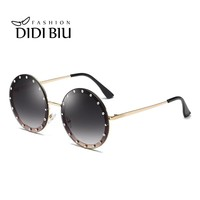 Round Diamond Sunglasses Women Brand Steampunk Rimless Metal Frame Crystal Sun Glasses Men Gradient Lens Shades Oculos WN1005