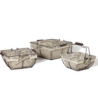 Adeco Multi-Purpose Square Iron Baskets with Folding Handles and Newspaper Print Lining Home Decor, Set of 3