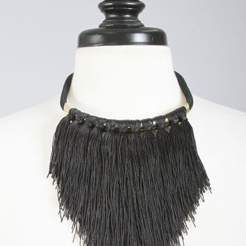 fringe forever collar necklace - black
