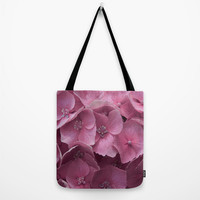 Art Print Tote Bag with Pink Hydrangeas Floral Photography, Canvas Bag.