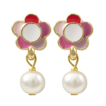 Pink Multi Enamel 9mm Flower, White 6mm Pearl Dangling, Gold Plated Brass Post Earrings