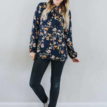 Fall Floral Blouse in Navy