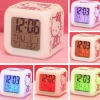 Cute Color-Changing Hello Kitty Style Alarm Clock