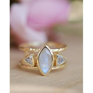 Moonstone & White Topaz Ring (BJR118)