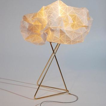 Origami Table Lamp White Shade Gold Base Textile Lamp 32x25x45 Cm 12.5x9.8x17.7 Inch Home Decor Accessory