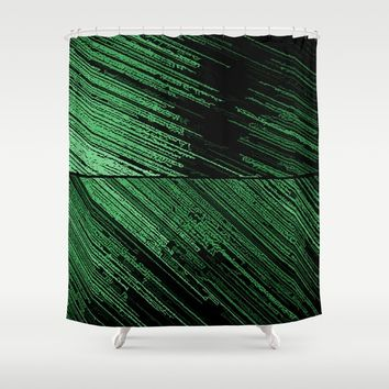 Line art - the Scratch, green lines on black canvas pattern, geometric artwork, asymetric stripes Shower Curtain by Peter Reiss