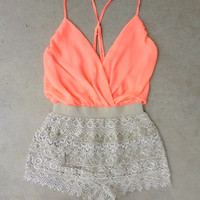 Crochet Peach Macchiato Party Romper