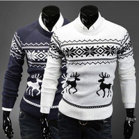 Bestitem  Fashion Men's Pullover Little Fawn Sweater Men Slim Ugly Christmas Sweaters Outerwear