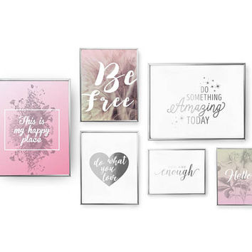 SET of 6 Prints, Happy Place Print, Boho Art, Bedroom Decor, Gold Foil Print, Free Spirit Set, Home Decor, Inspirational Quote, Heart Print