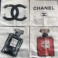 4 New Designer Chanel Parfum Pillow Cases, Set of 4