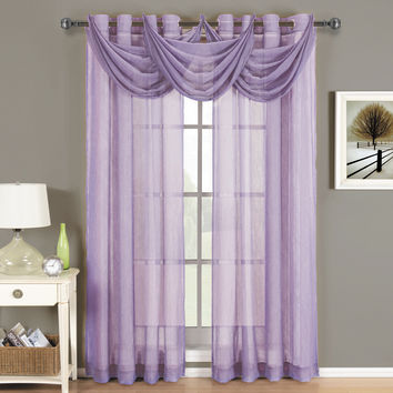 Abri Lavender Grommet Crushed Sheer Curtain Panel