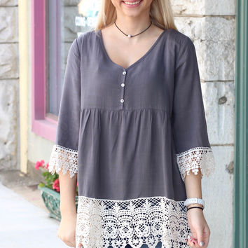 On the Edge Crochet Lace Blouse {Grey}