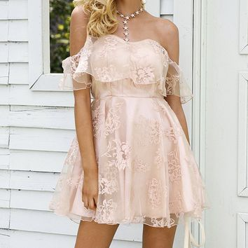 Perfect Kisses Lace Short Sleeve Off The Shoulder Ruffle Flare Mini Dress - 2 Colors Available