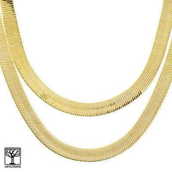 "Jewelry Kay style Men's Bling Iced Out Heavy 11 mm  24"" / 30"" Double Herringbone Chain Necklace"