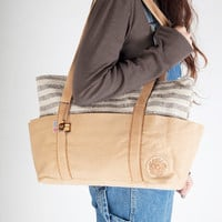ECOFRIENDLY LARGE TOTE. Hand spun and hand woven, wool and cotton, multiple pockets outside and inside. Great as diaper bag.