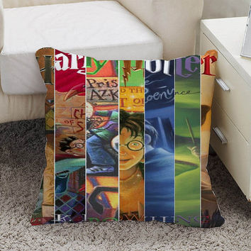 Harry Potter book collage Pillow case size 16 x 16, 18 x 18, 16 x 24, 20 x 30, 20 x 26 One side and Two side