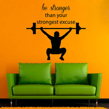 Fitness Wall Decals Sportsman Boy Bodybuilder With Crossbar Sport Wall Quotes Be Stronger Gym Decor Vinyl Sticker Home Interior Design kk765