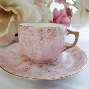 Antique Limoges Demitasse Cup with Hand-Painted Gold Brushing - Signed A.K. Limoges-France (1880s-1890s)