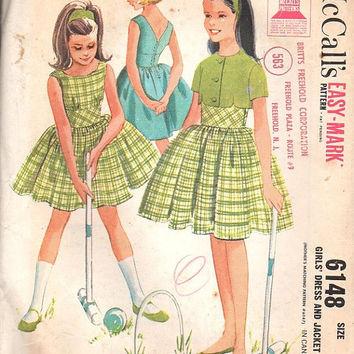 McCall's 6148 Sewing Pattern Vintage Style 1960s Girls Garden Tea Party Dress Full Skirt Back Button Fitted Bodice Rockabilly Size 10
