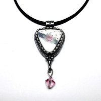 Broken China Jewelry, Pendant Necklace, Pink Rose Necklace, Pink Crystal, Pink and Black Necklace, Victorian Rose, Valentine Gift for Her