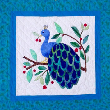 Quilted Wall Hanging -  Peacock - Baltimore Album block - Hand  Applique Quilt  -  Art For Your Wall