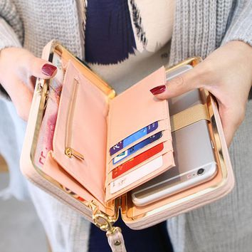 Interior Compartment PU Leather Bow Wallet