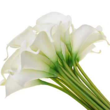 20pcs Artificial Fake ivory calla lilies Flowers Home Decor (Color: Ivory) [7982970759]