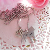 Aluminium Pitbull Hand Stamped Necklace With Paw Charm