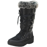 Lace up Women's Faux Leather Snow Boots