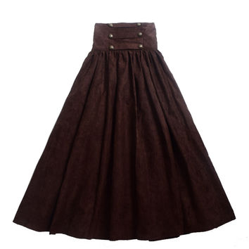 Vintage Steampunk Skirt Victorian Gothic High Waist Long Walking Slim Skirt Black/Blue/Brown/Purple Women's Gifts
