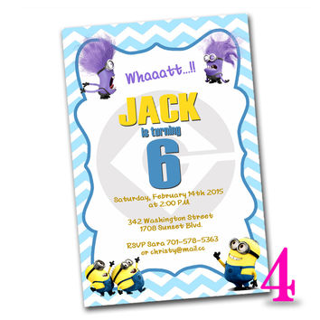 minion inspired Kids Birthday Invitation Party Design