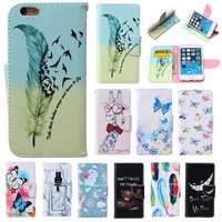 "For Apple iPhone 6 6s iPhone6s 4.7"" Flip Wallet Case Cover Skin Cute Folio Leather Book Style Phone Cases with Hand Strip"